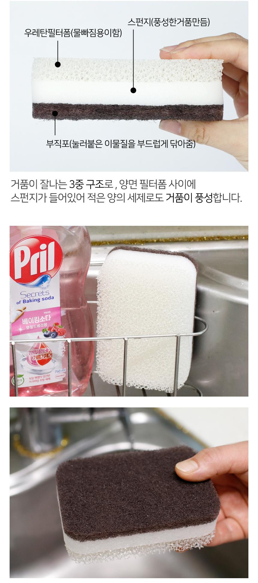 지스페로 양면 우레탄 스폰지 수세미세트 2종 - 김씨하우스, 7,900원, 설거지 용품, 수세미
